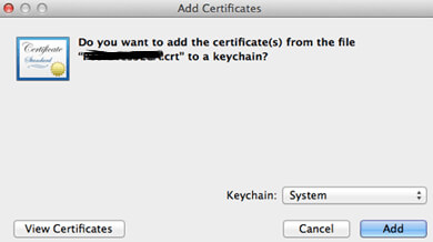 Add Certificate KeyChain Confirmation Mac OS Apple Web Server