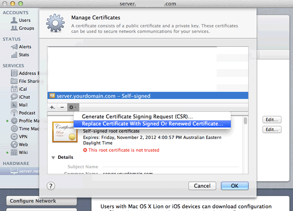 SSL Certificate Installation in Apple Mac OS X Server