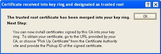 certificate recieved into key ring and designated as trusted root
