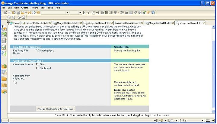 merge certificaste into key ring -ibm lotus notes