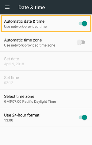 Date and Time Setting in Android