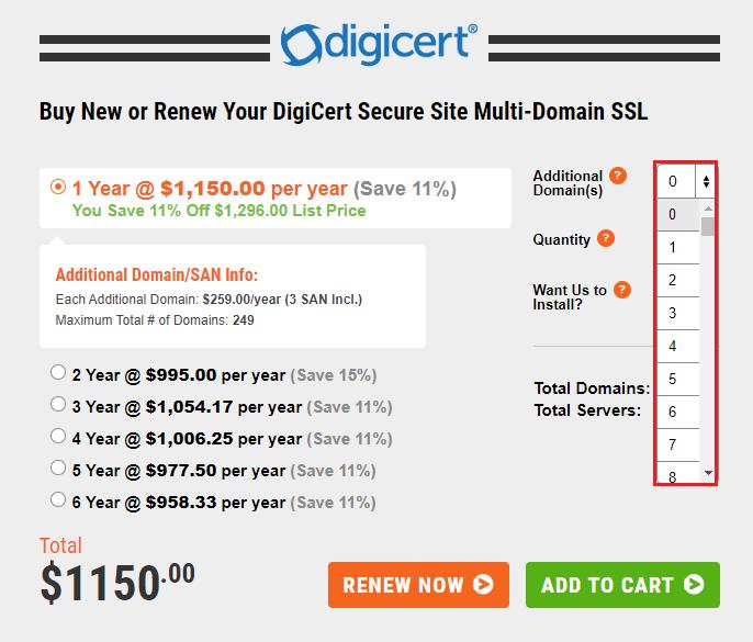 digicert secure site multi domain
